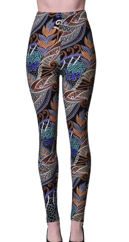Printed Brushed Leggings - Paintstroked