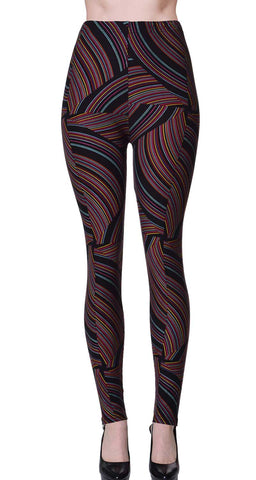 Printed Brushed Leggings - Flowing Licorice