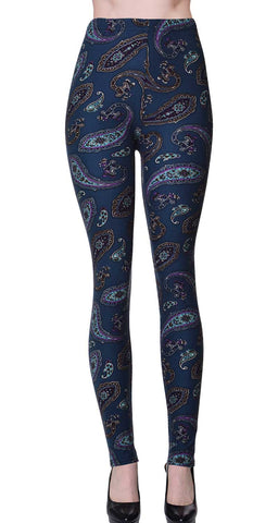 Printed Brushed Leggings - Reindeer Snow