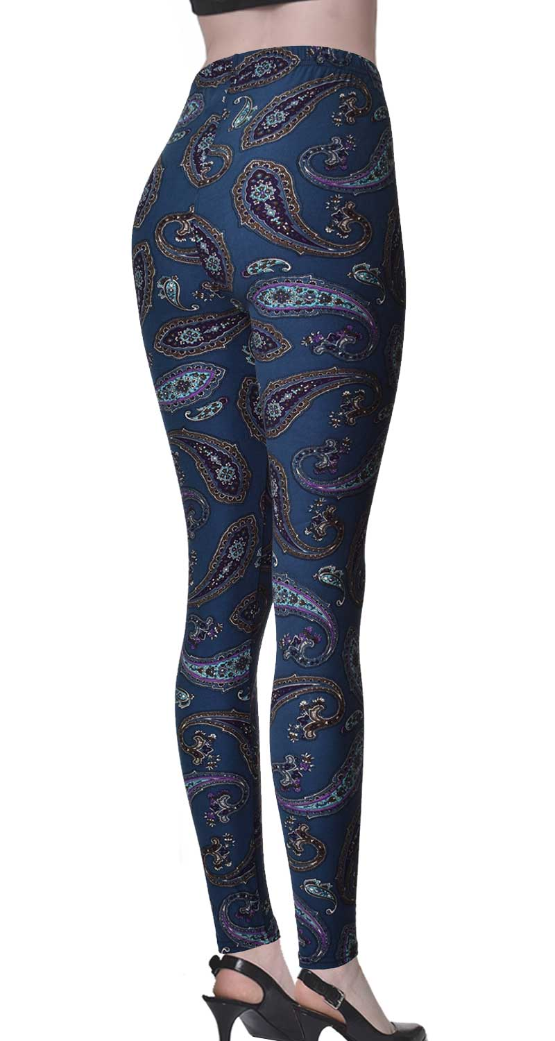 Printed Brushed Leggings - Deep Sea Paisley