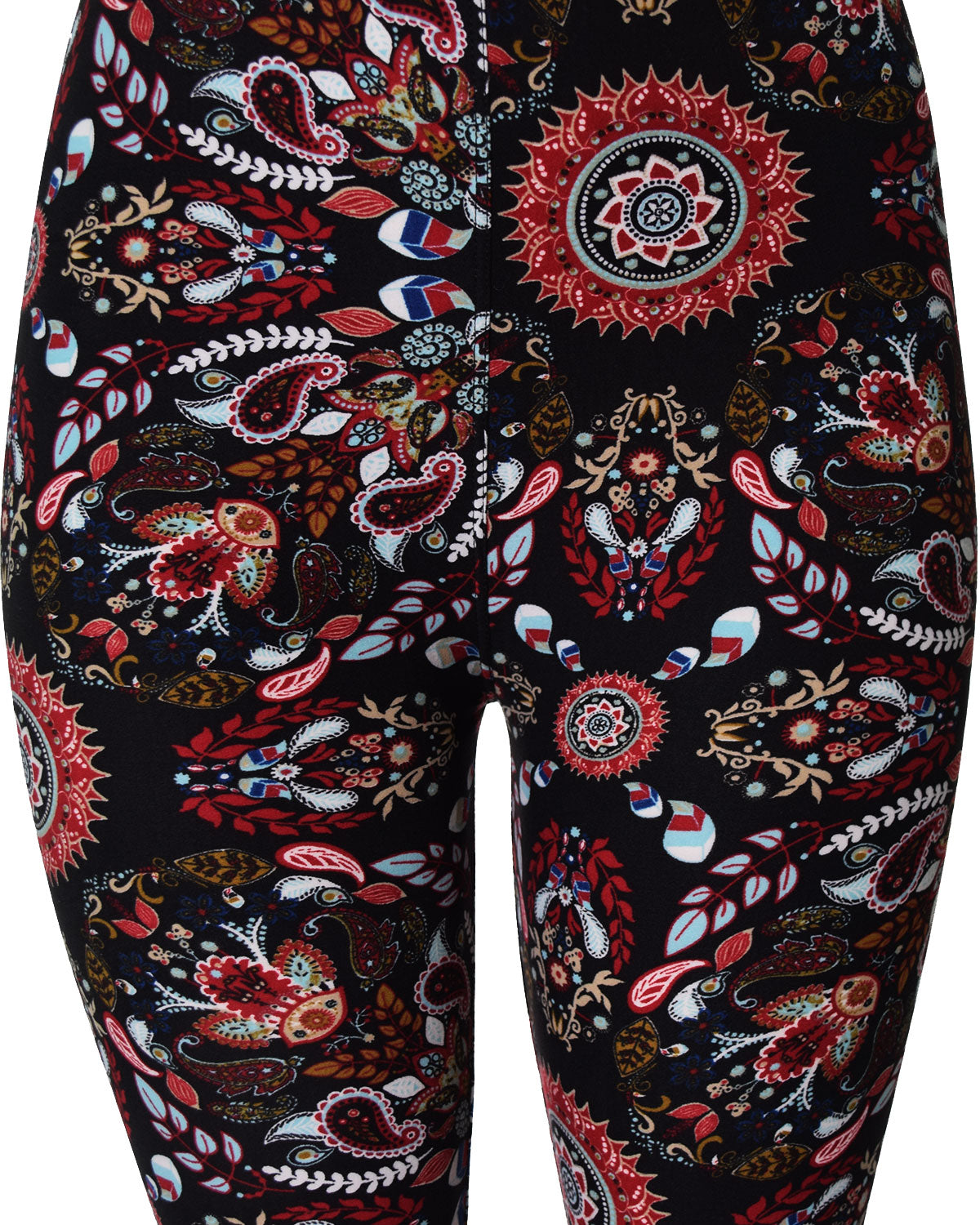 Printed Brushed Leggings - Volcano Paisley