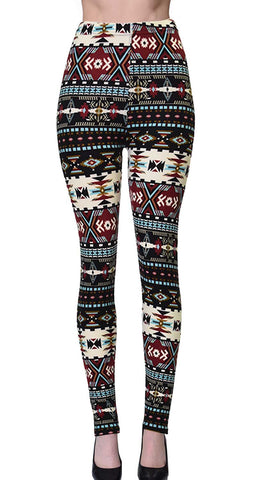Printed Brushed Leggings - Paisley Formation