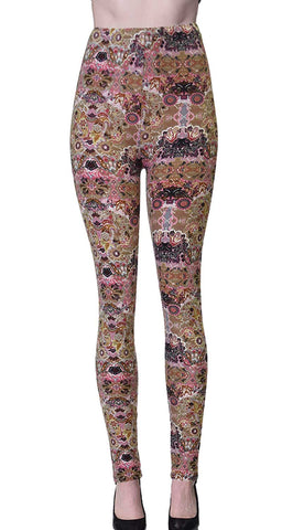 Printed Brushed Leggings - World of Paisley