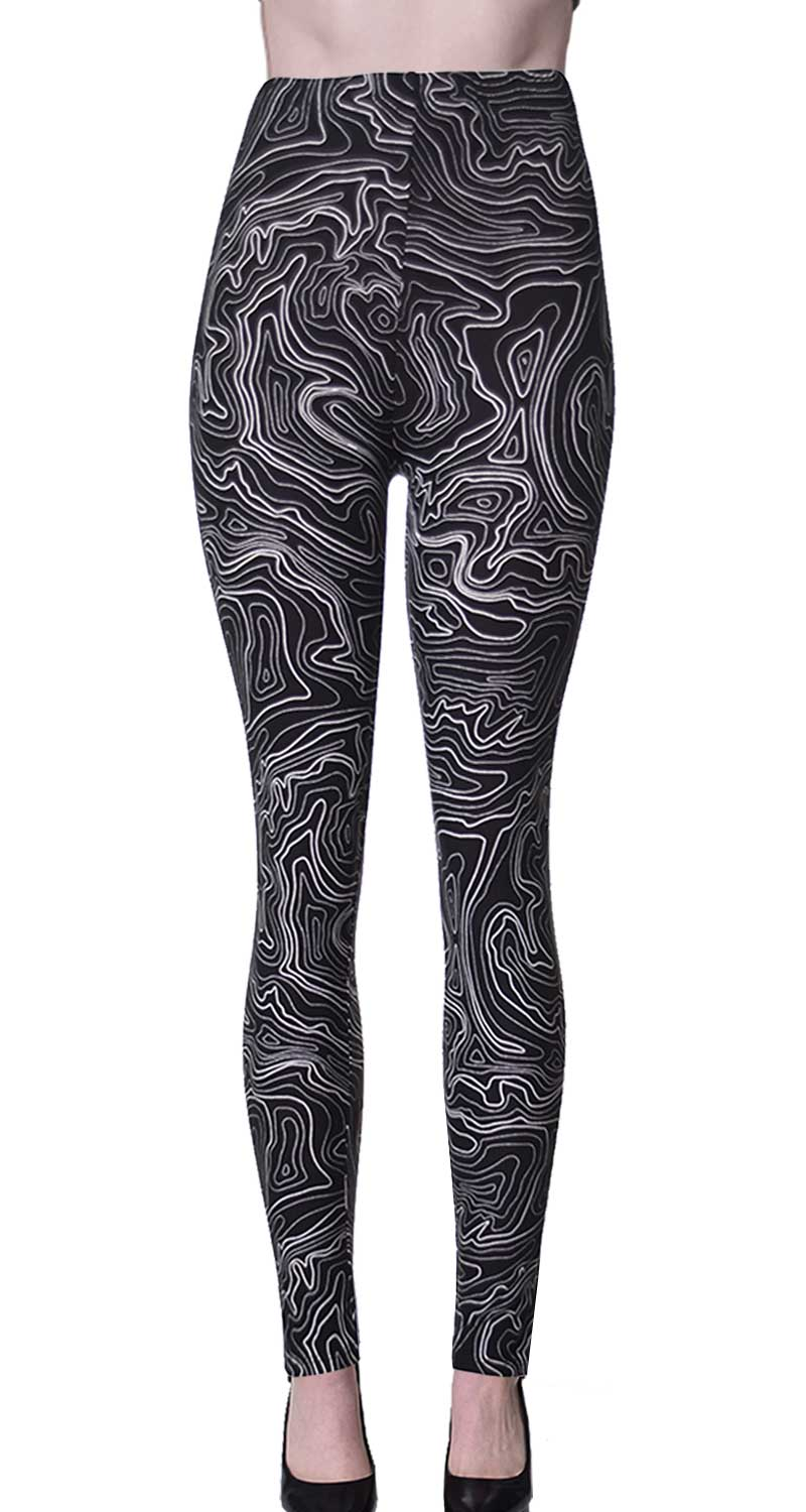 Printed Brushed Leggings - Marbling Maze