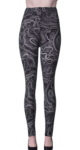 Printed Brushed Leggings - Deep Ground Paisley