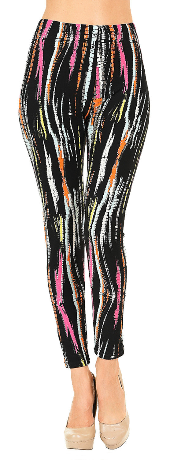 Printed Brushed Leggings - Mixed Stripes - VIV Collection