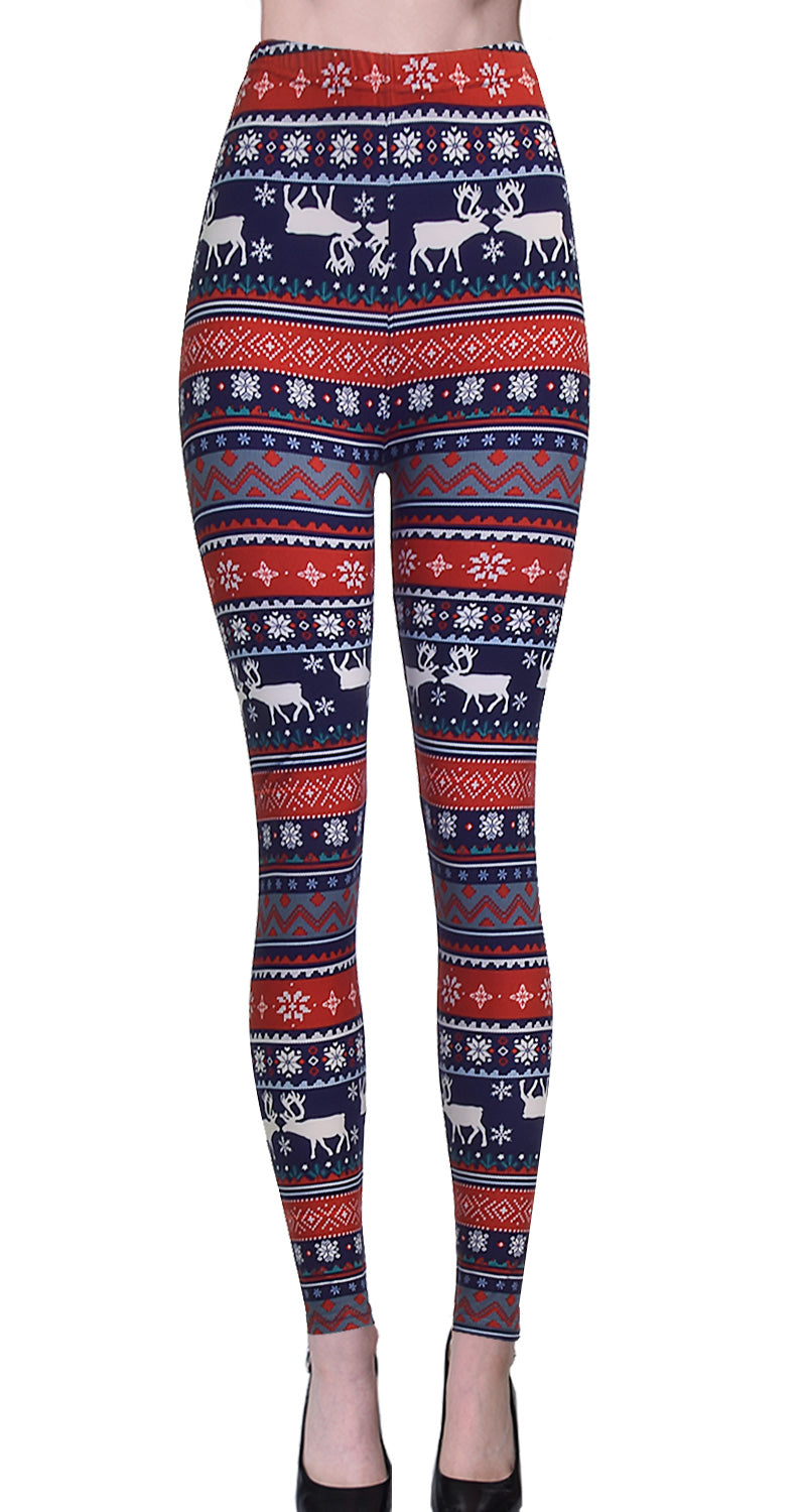 Printed Brushed Leggings - Reindeer Snowflake