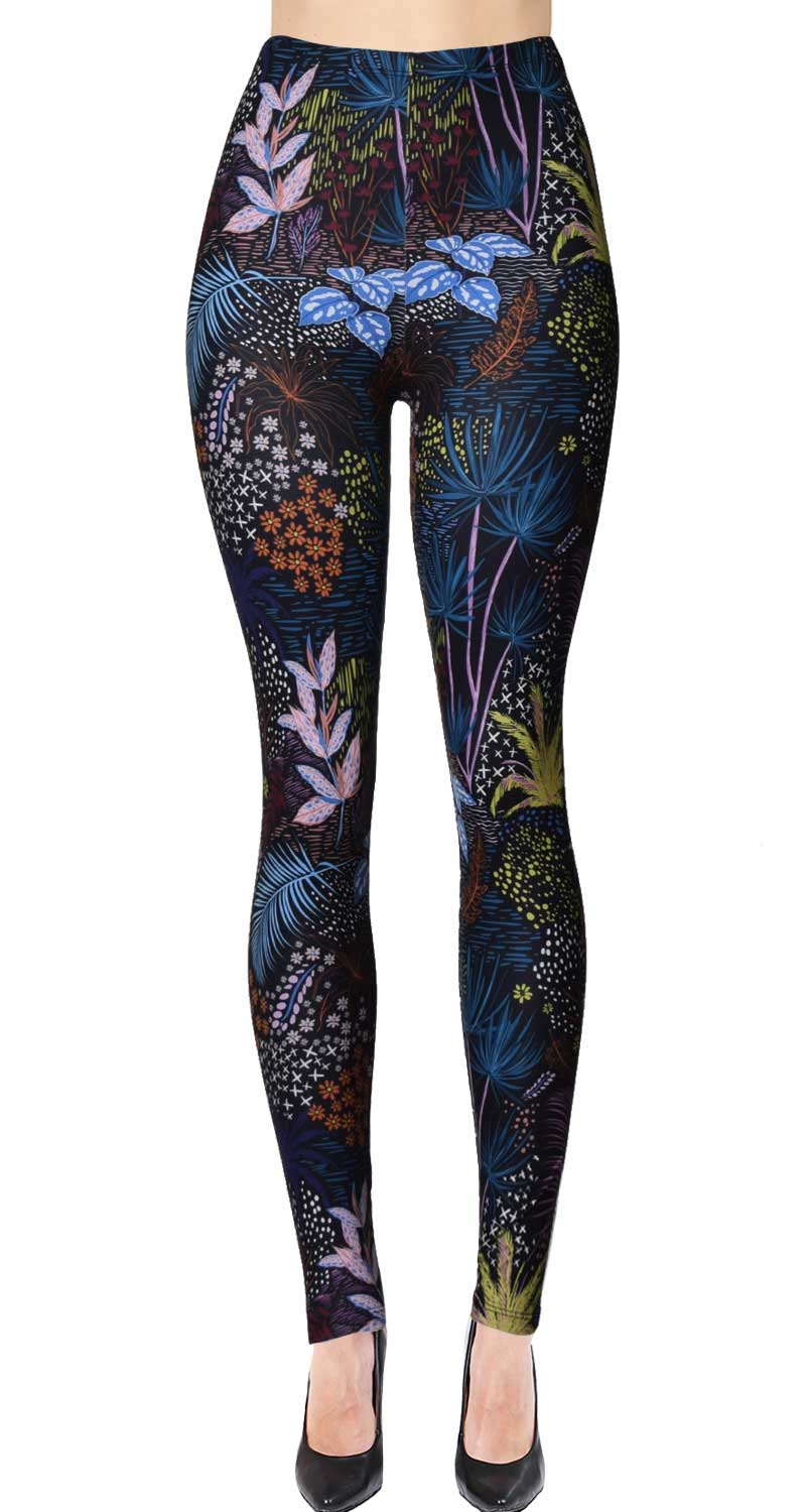 Printed Brushed Leggings (Digital Print) - Midnight Jungle