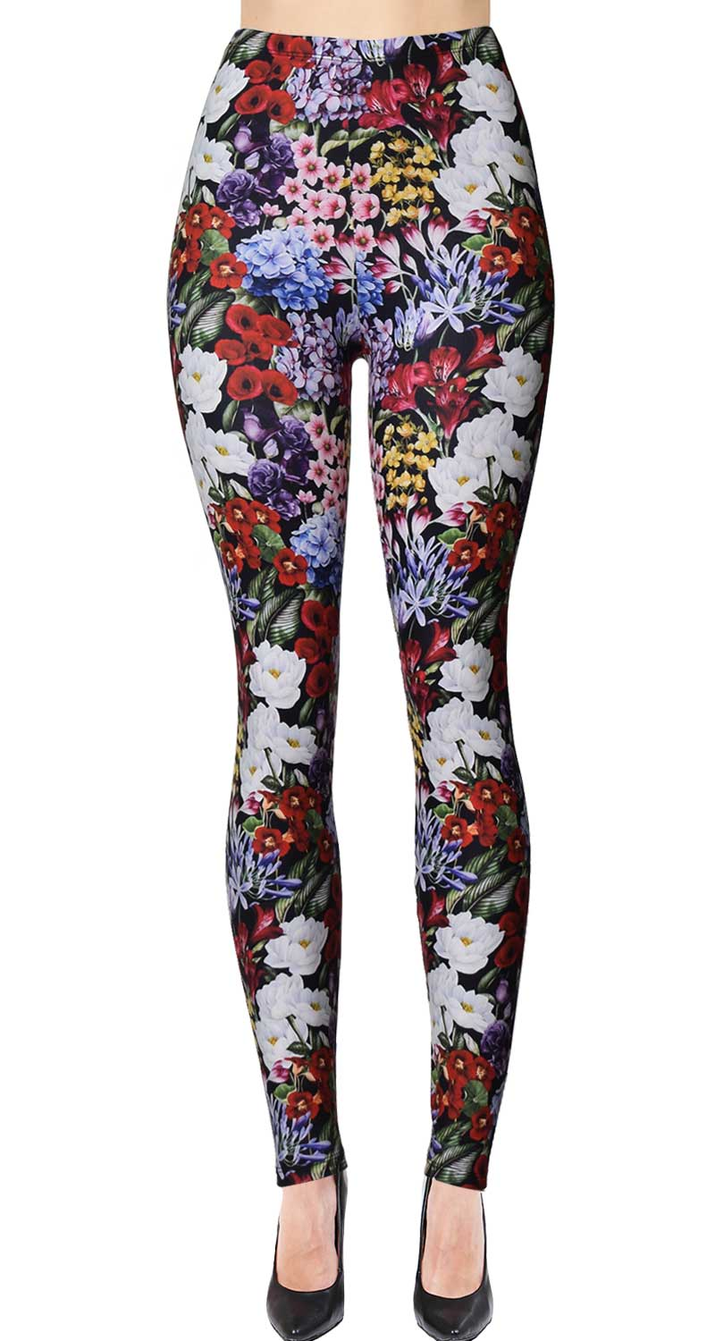 Printed Brushed Leggings (Digital Print) - Flower Heaven