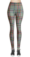 Printed Brushed Leggings - Plaid Black & 9 Whites