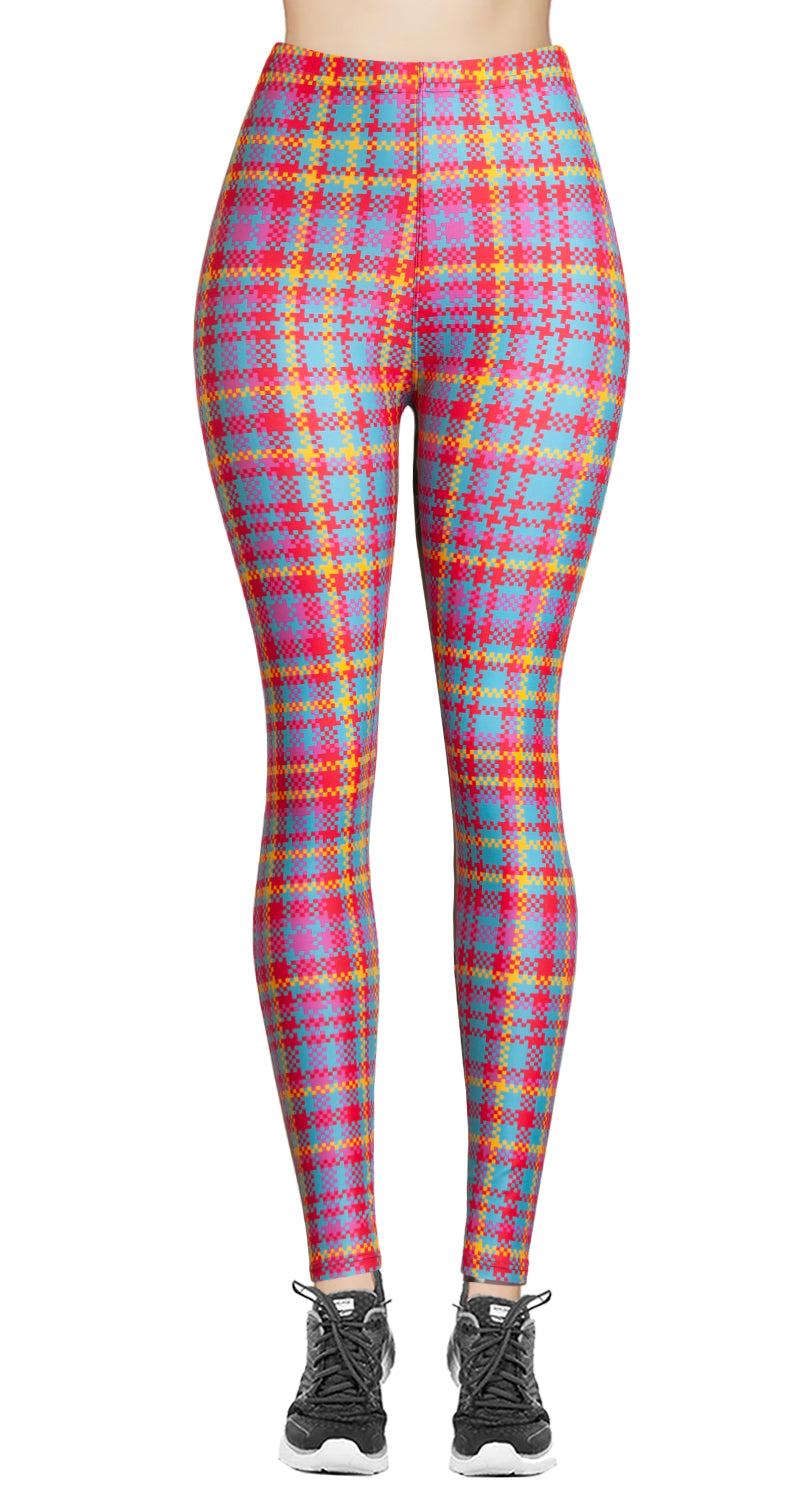 Printed Brushed Leggings - Pinky Yellow Houndstooth (Digital Print)