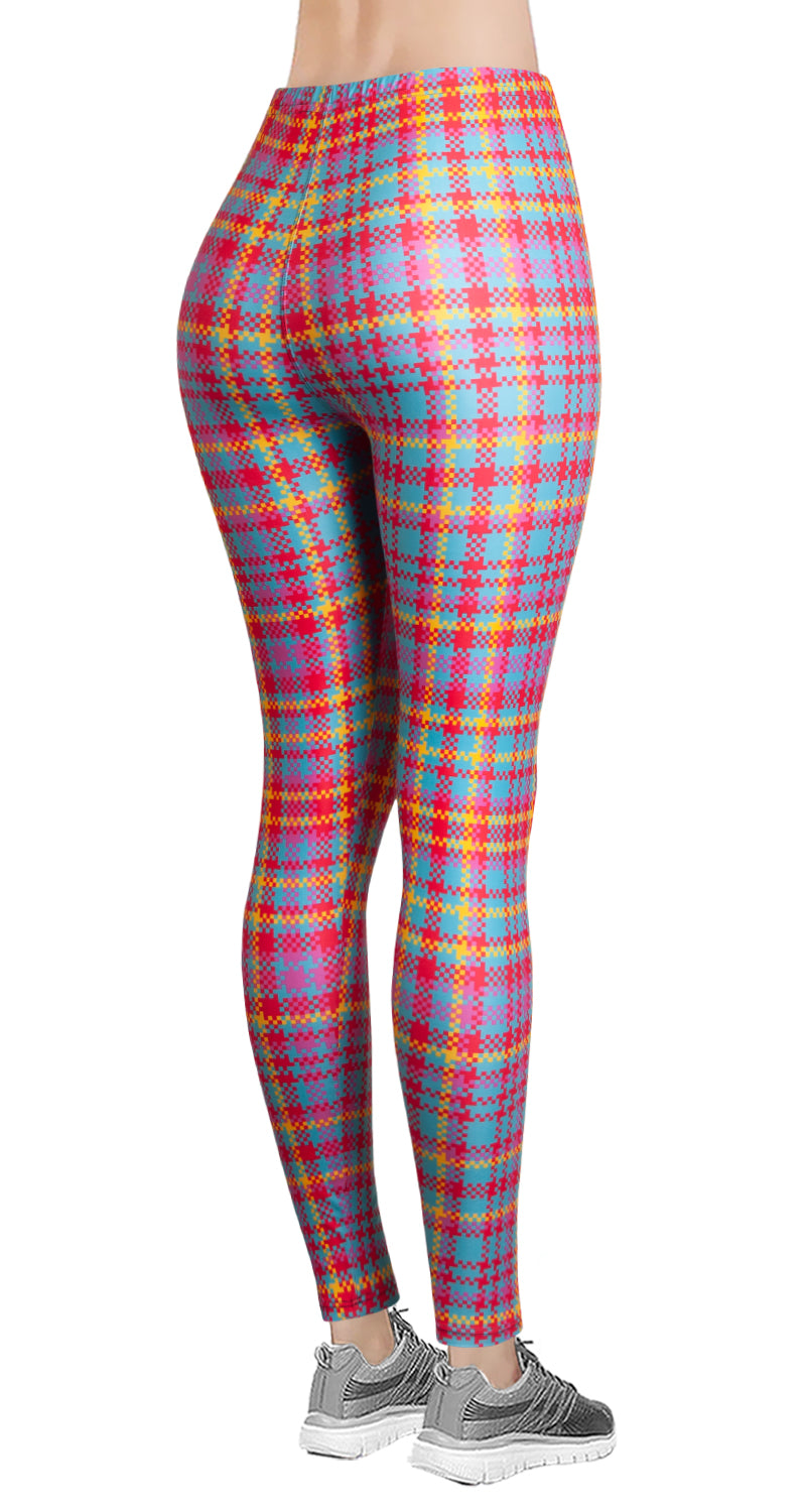Printed Brushed Leggings - Pinky Yellow Houndstooth