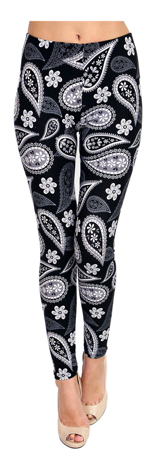 Printed Brushed Leggings - Shadowed Paisley - VIV Collection