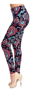 Printed Brushed Leggings - Dragon Tail Paisley - VIV Collection
