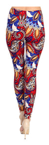 Printed Brushed Leggings - Fiery Paisley - VIV Collection