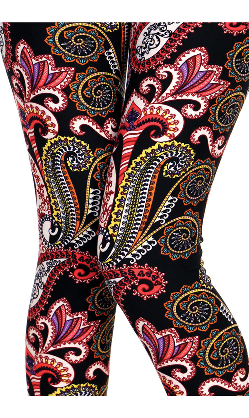 Printed Brushed Leggings - Paisley Party - VIV Collection