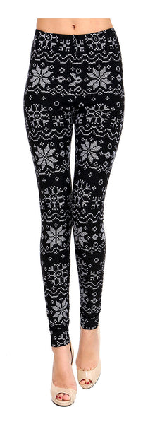 Printed Brushed Leggings - White Snowflake - VIV Collection