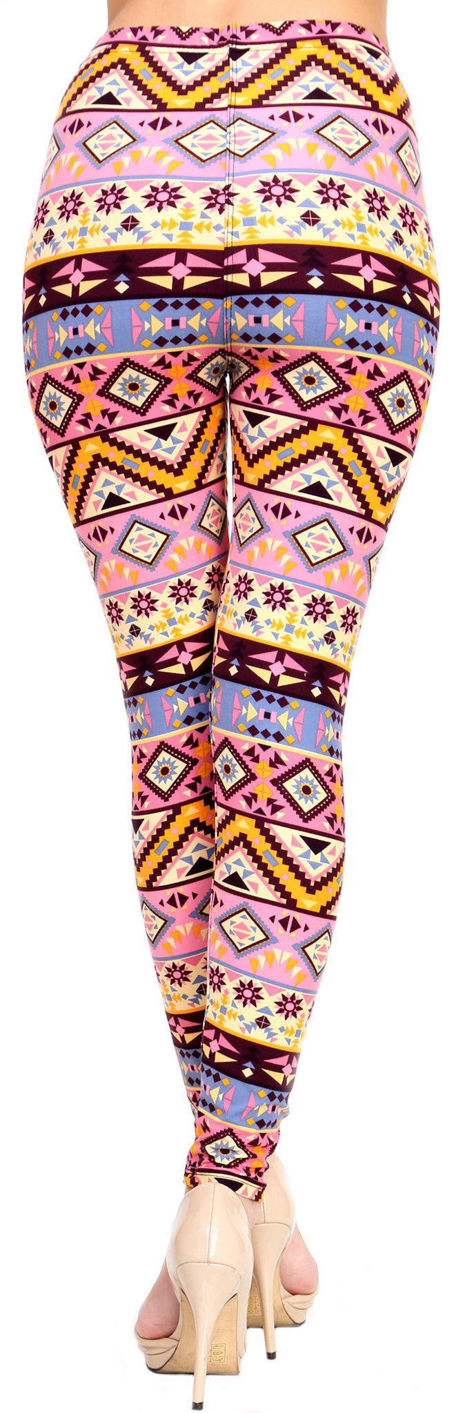 Printed Brushed Leggings - Pink Fiesta - VIV Collection