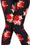 Printed Brushed Leggings - Red Rose Corsage - VIV Collection