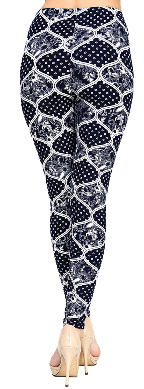 Printed Brushed Leggings - Shadowy Spades - VIV Collection
