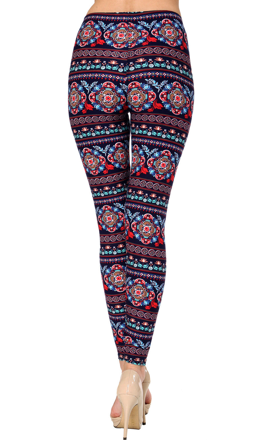 Printed Brushed Leggings - Floral Wealth
