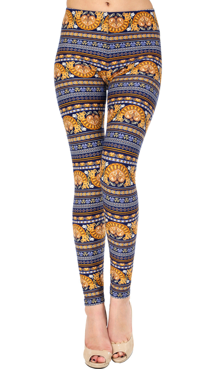 Printed Brushed Leggings - Gold Blue Wealth
