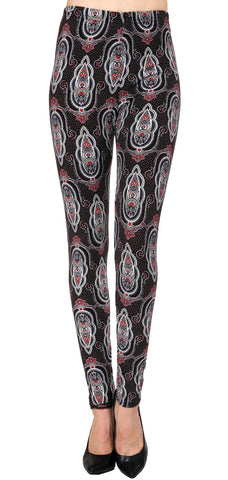 Printed Brushed Leggings - Paisley Hive