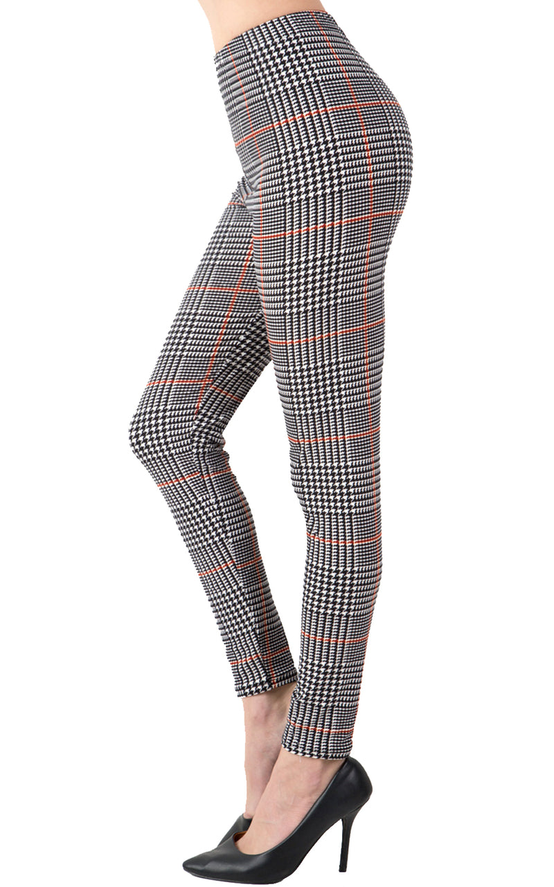 Printed Brushed Leggings - Orange Lined Checkered