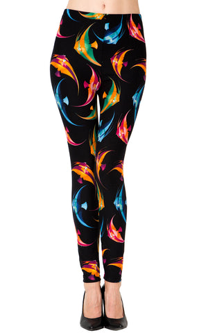 Printed Brushed Leggings - Striped Fish