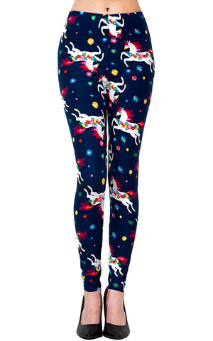 Printed Brushed Leggings - Rainbow Unicorn