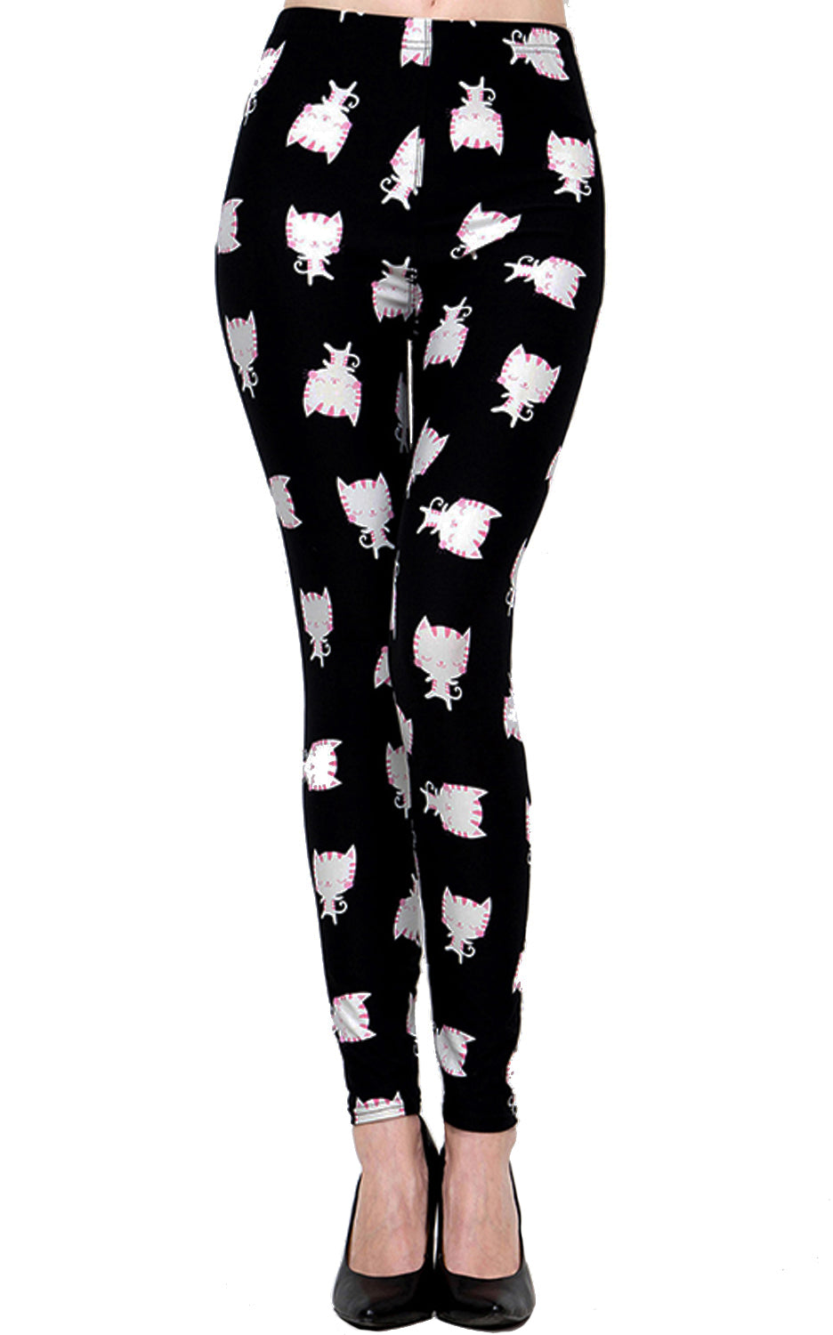 Printed Brushed Leggings - Meow Cat