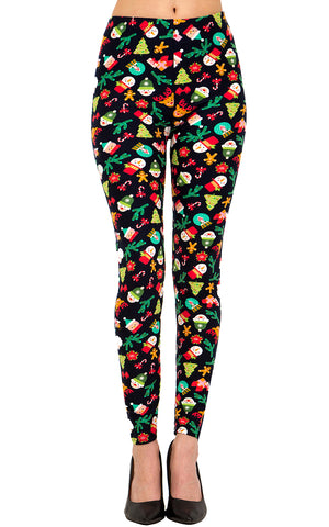 Printed Capris Leggings (Digital Print) - Flower Heaven