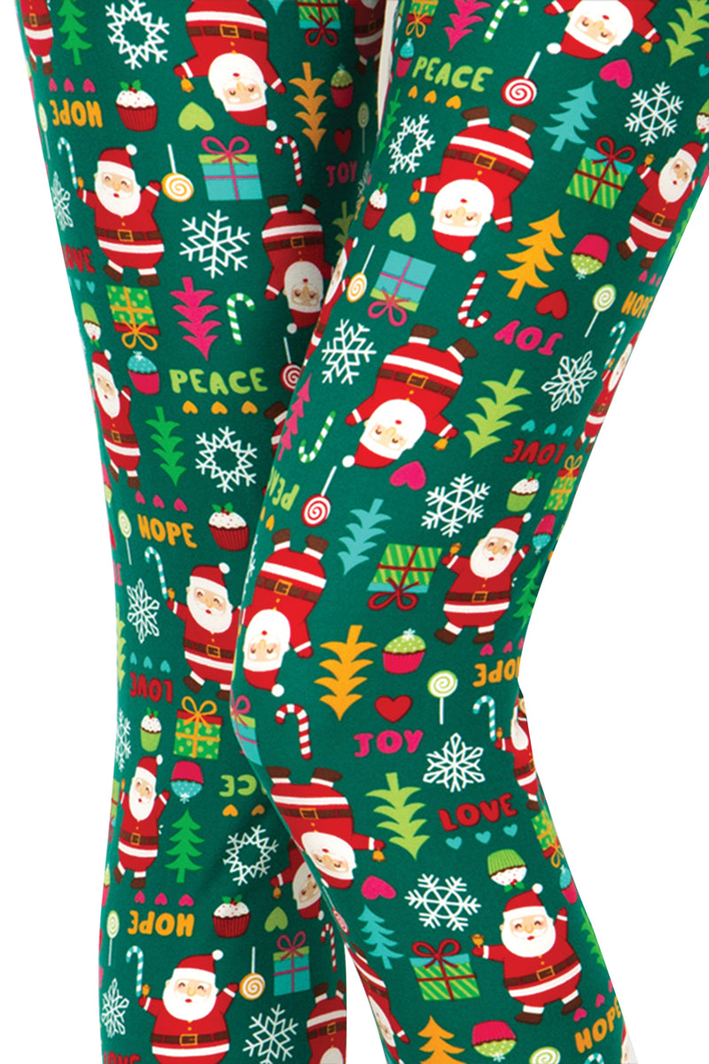 Printed Brushed Leggings - Green Christmas Party