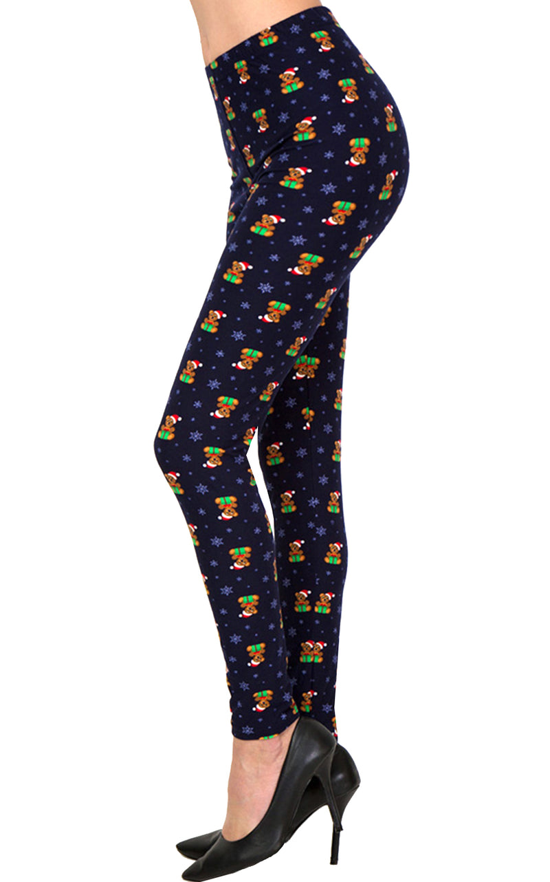 Printed Brushed Leggings - Teddy Bear X-Mas Gift