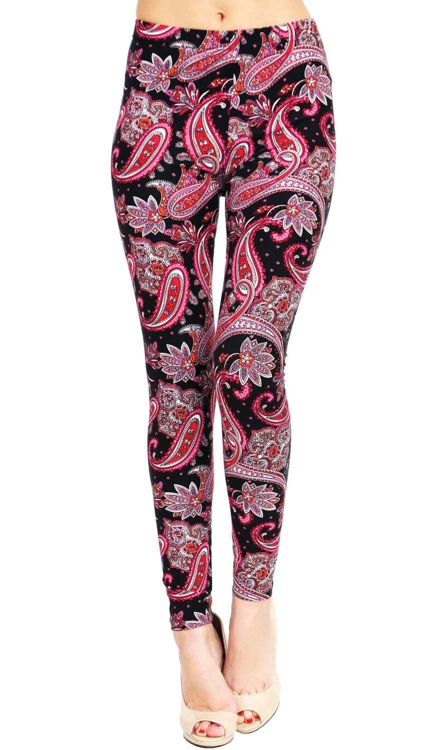 Printed Brushed Leggings - Pink Starry Night Paisley - VIV Collection