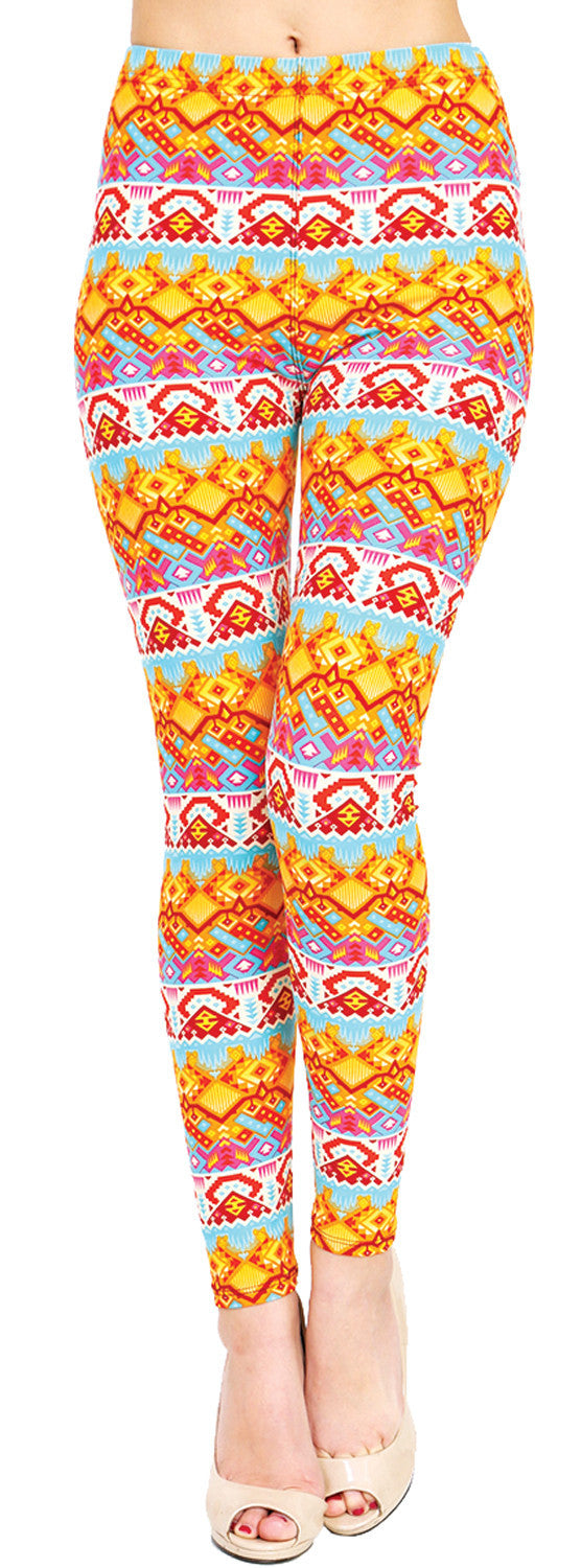 Printed Brushed Leggings - Summer Fusion - VIV Collection