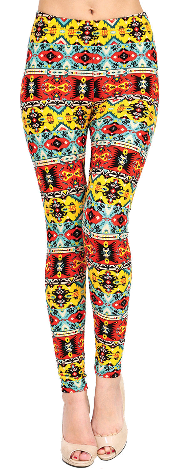 Printed Brushed Leggings - Retromatic - VIV Collection