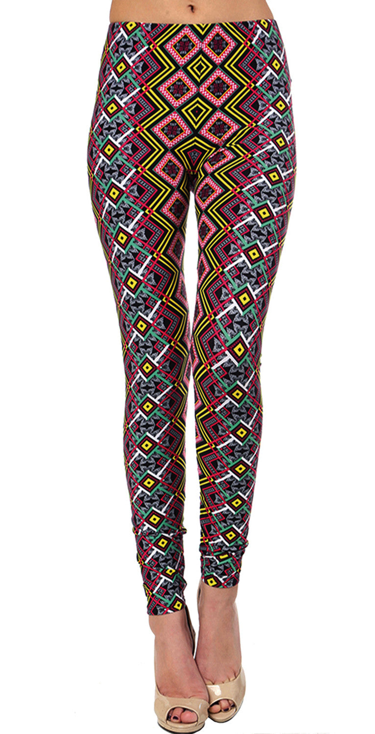 Printed Brushed Leggings - Diamond Illusion
