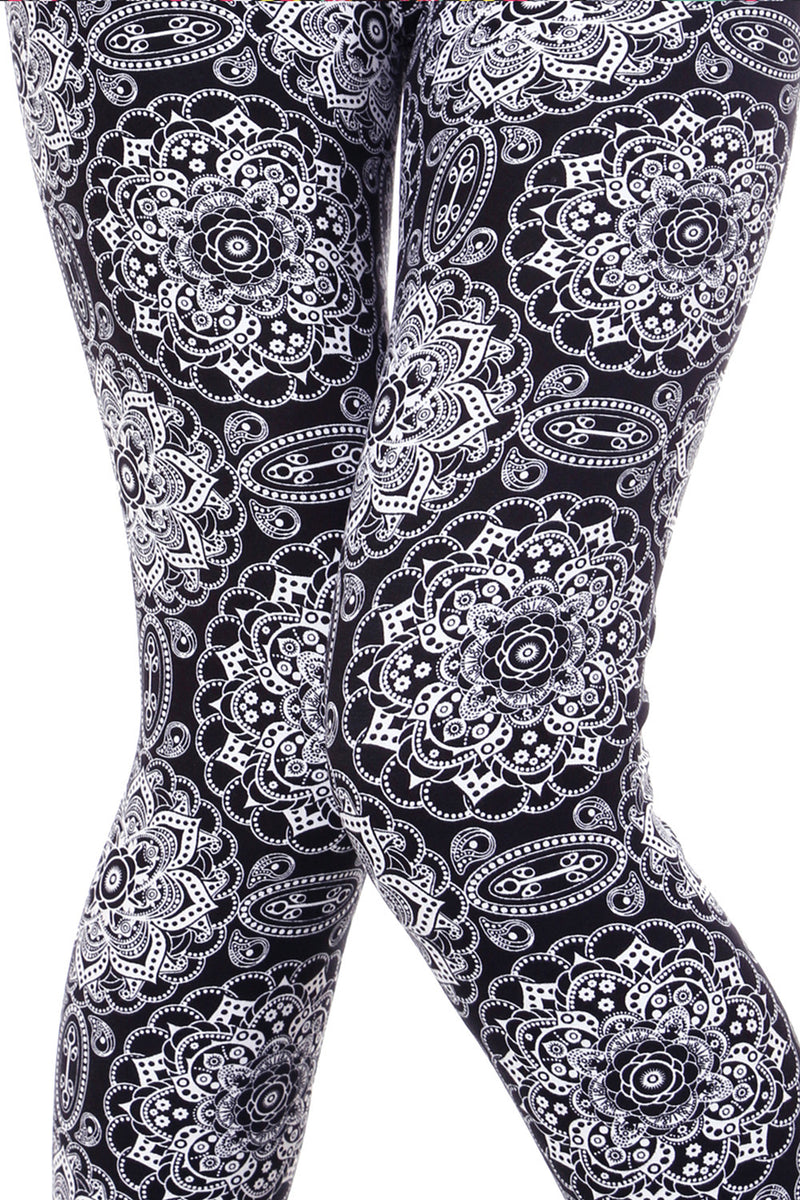 Printed Brushed Leggings - Floral Time