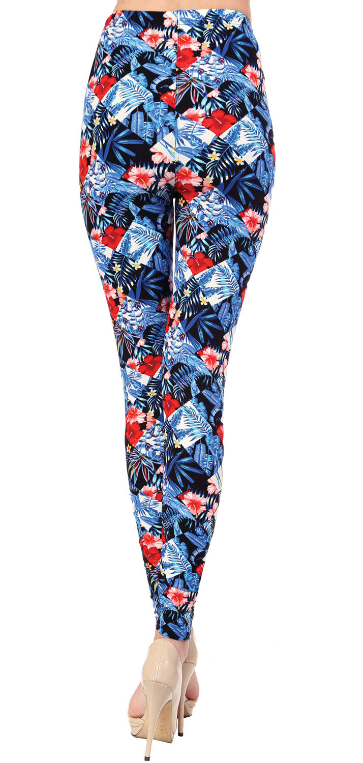 Printed Brushed Leggings - Freezing Bloom