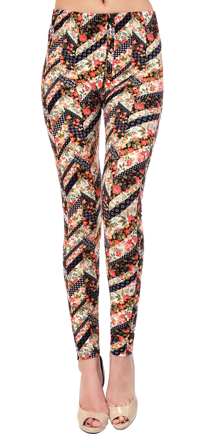 Printed Brushed Leggings - Fresh Blossoming