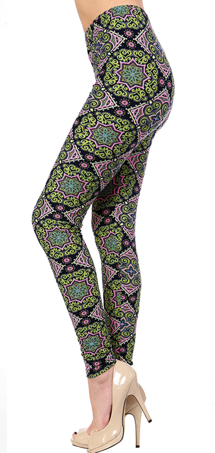 Printed Brushed Leggings - Funky Town