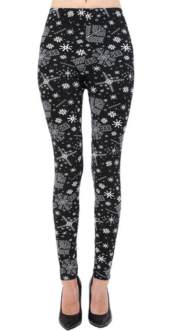 Printed Brushed Leggings - Reindeer Polka Dots