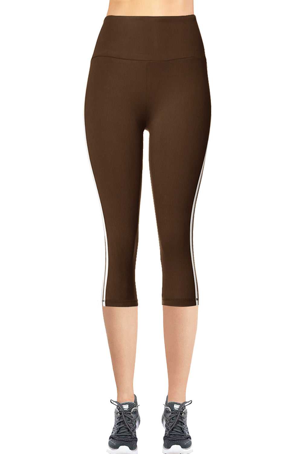 VIV Collection STRIPED Signature CAPRI Leggings Ultra Soft and Strong Tension Elastic YOGA MID WAIST w/ Hidden Pocket