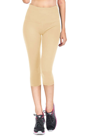 VIV Collection Signature Capri Leggings Ultra Soft and Strong Tension Elastic YOGA Waistband w/ Hidden Pocket Sizes