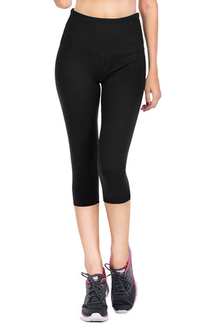 VIV Collection Signature Capri Leggings Ultra Soft and Strong Tension Elastic YOGA Waistband w/ Hidden Pocket