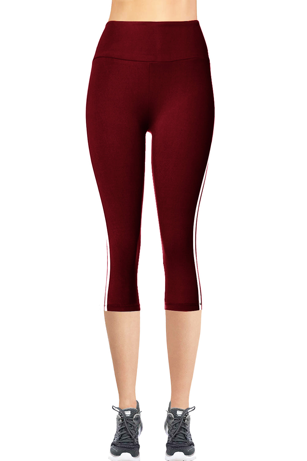 VIV Collection STRIPED Signature CAPRI Leggings Ultra Soft and Strong Tension Elastic YOGA MID WAIST NO POCKET