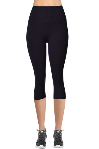 VIV Collection Signature Capri Leggings Ultra Soft and Strong Tension Elastic YOGA MID WAIST NO POCKET