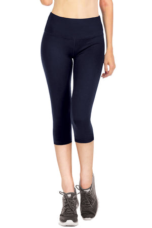 VIV Collection Signature Capri Leggings Ultra Soft Elastic YOGA MID WAIST NO POCKET