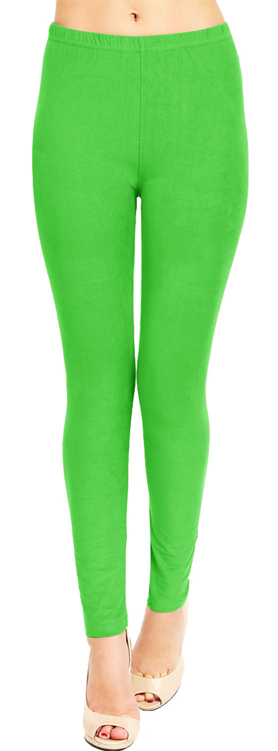 Solid Brushed Leggings VP103-Apple Green (Full Length)